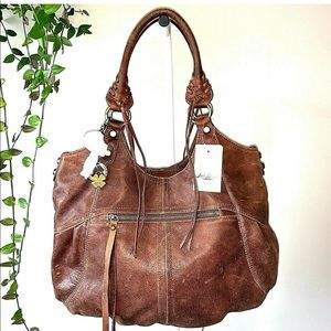 Lucky Brand Knots Landing Tote Bag Brown Leather